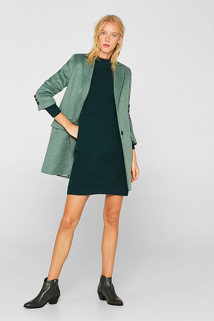 Blended wool: Knitted dress in a basic look, DARK TEAL GREEN, detail image number 1