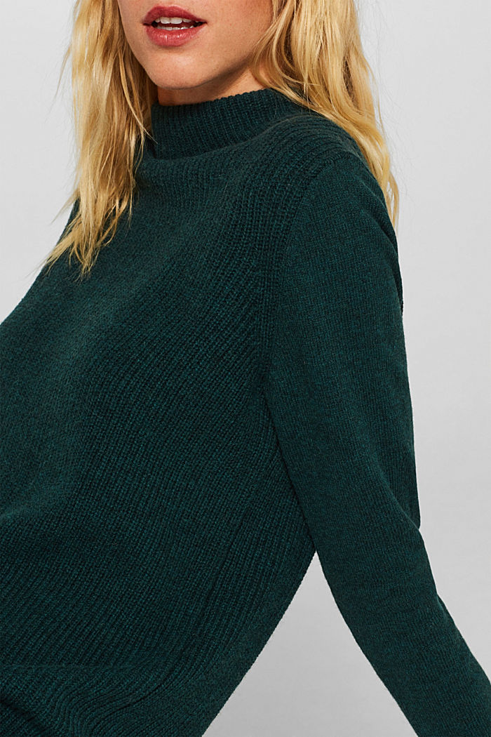 Blended wool: Knitted dress in a basic look, DARK TEAL GREEN, detail image number 3