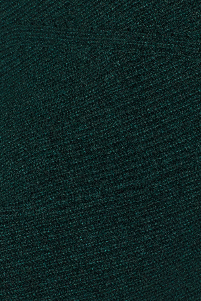 Blended wool: Knitted dress in a basic look, DARK TEAL GREEN, detail image number 5