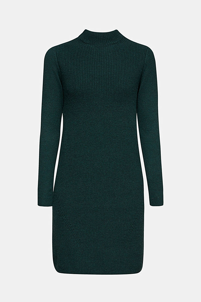 Blended wool: Knitted dress in a basic look, DARK TEAL GREEN, detail image number 6