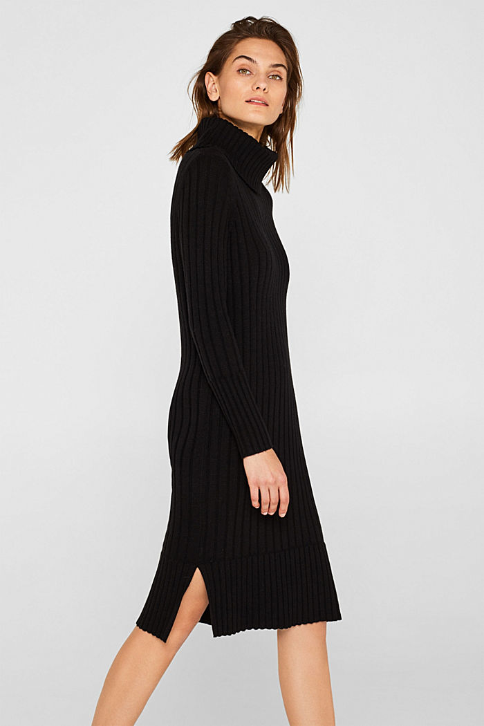 With cashmere: midi dress with a polo neck, BLACK, detail image number 0