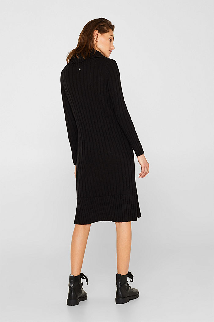 With cashmere: midi dress with a polo neck, BLACK, detail image number 2