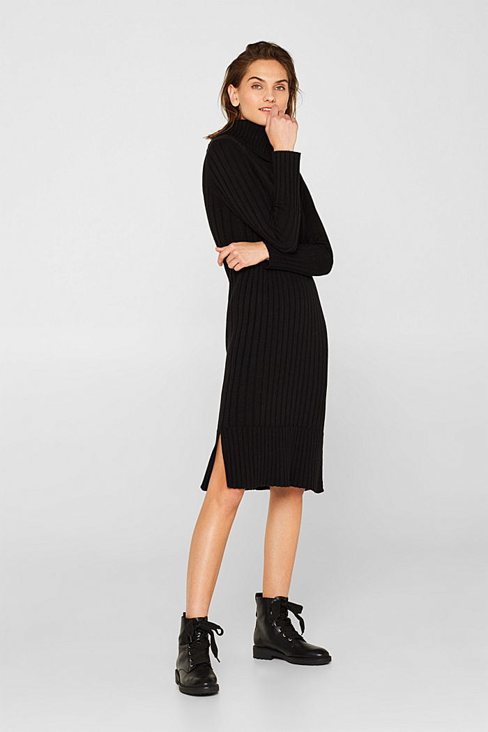 With cashmere: midi dress with a polo neck, BLACK, detail image number 5