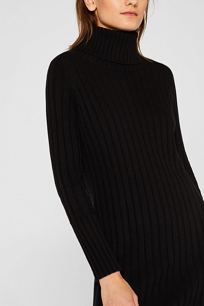 With cashmere: midi dress with a polo neck, BLACK, detail image number 3