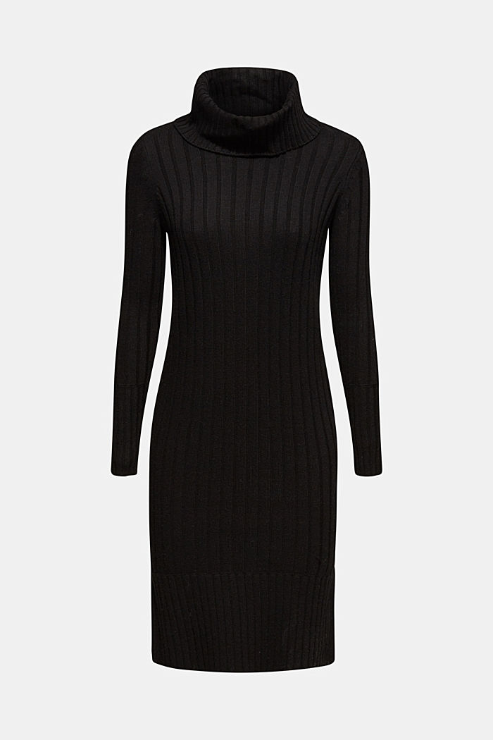 With cashmere: midi dress with a polo neck, BLACK, detail image number 6