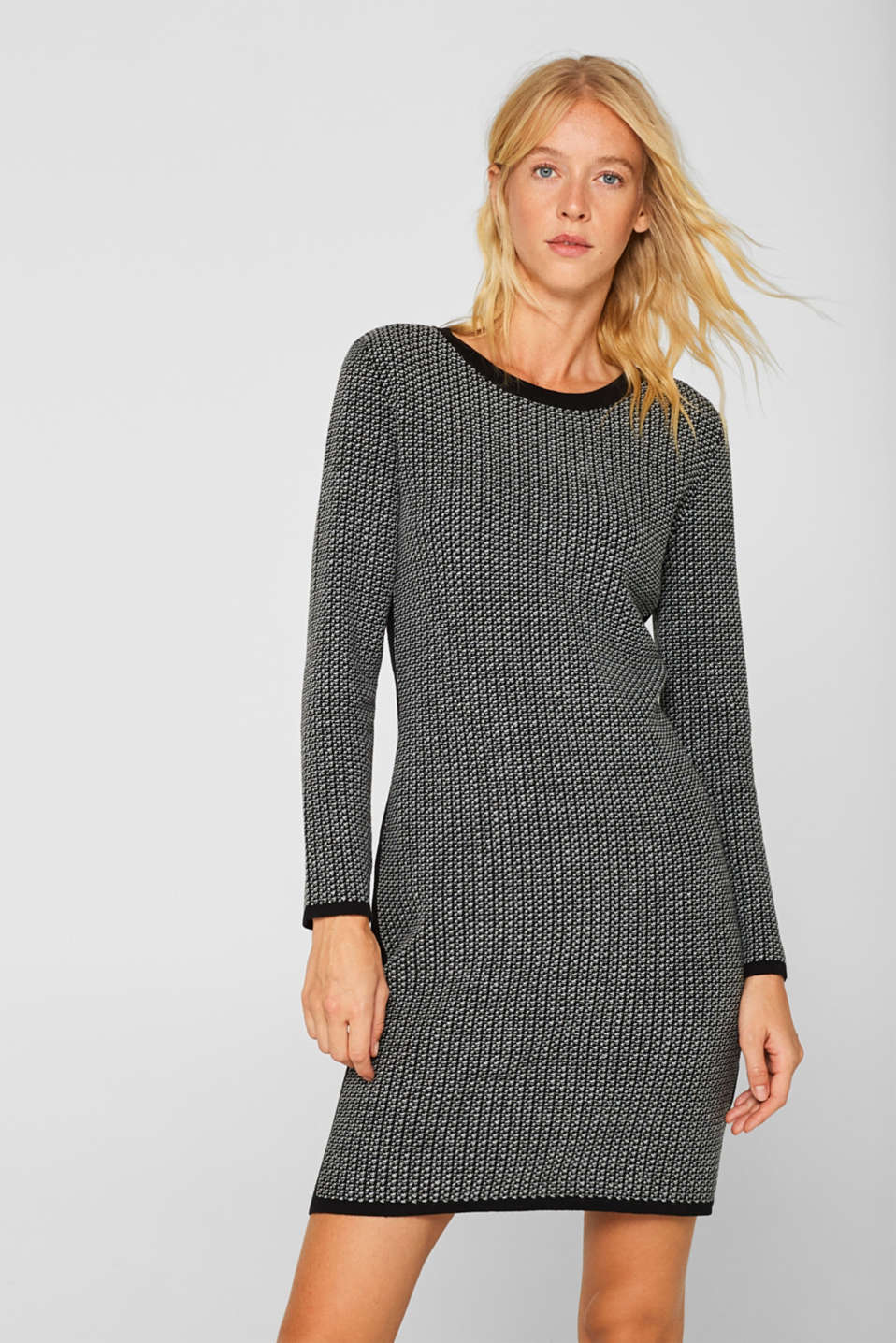 Knit dress with stripes and texture, BLACK 2, detail image number 0