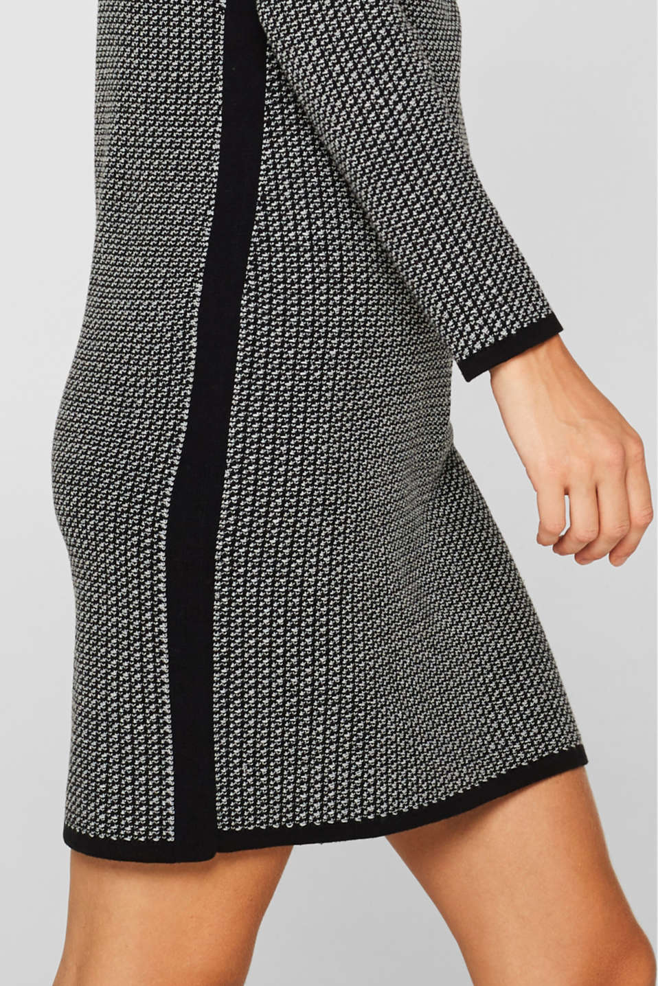 Knit dress with stripes and texture, BLACK 2, detail image number 6