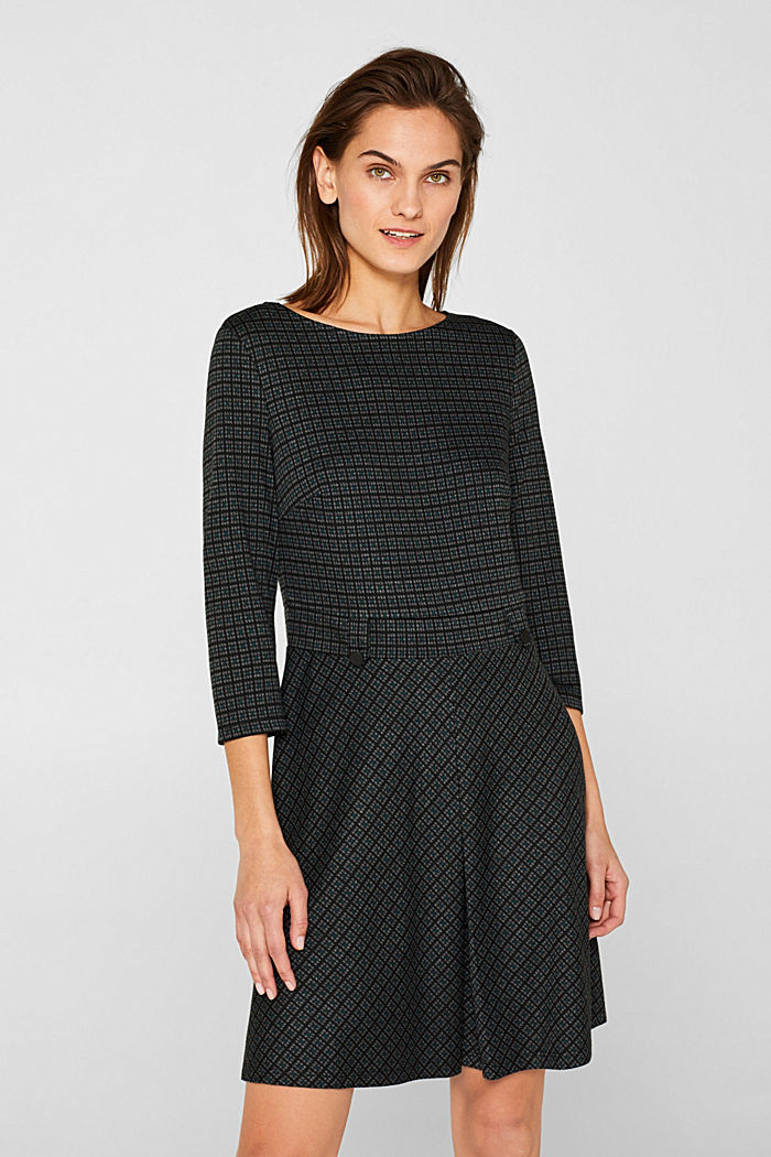 A-line check stretch jersey dress, DARK TEAL GREEN, detail image number 0