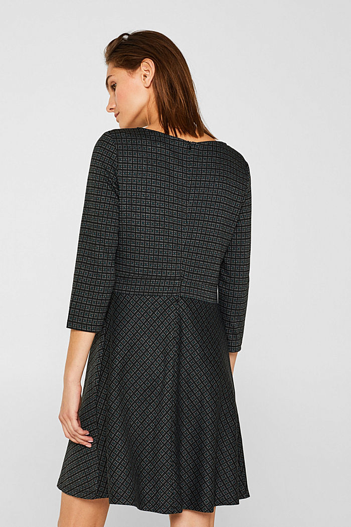 A-line check stretch jersey dress, DARK TEAL GREEN, detail image number 2
