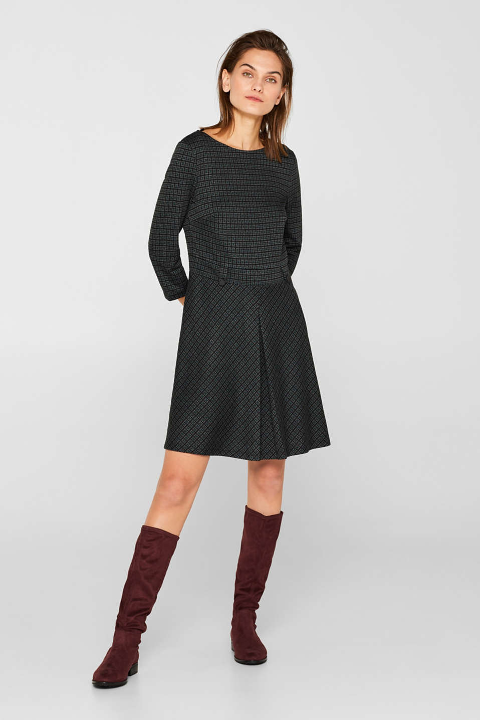 A-line check stretch jersey dress, DARK TEAL GREEN, detail image number 1