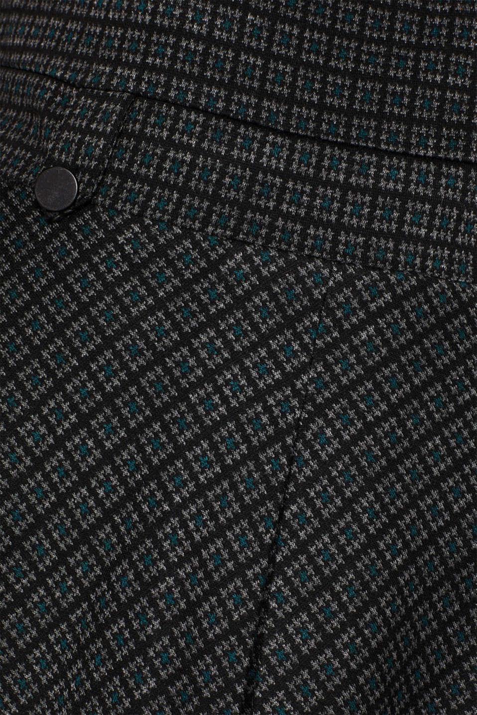 A-line check stretch jersey dress, DARK TEAL GREEN, detail image number 4