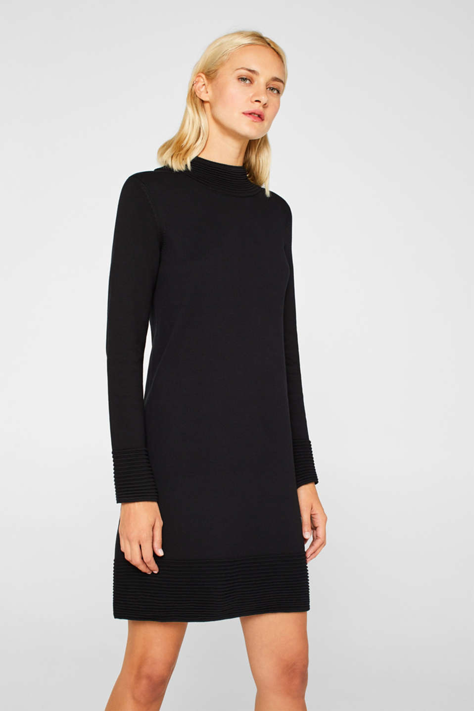 Knit dress with pintucks, BLACK, detail image number 0