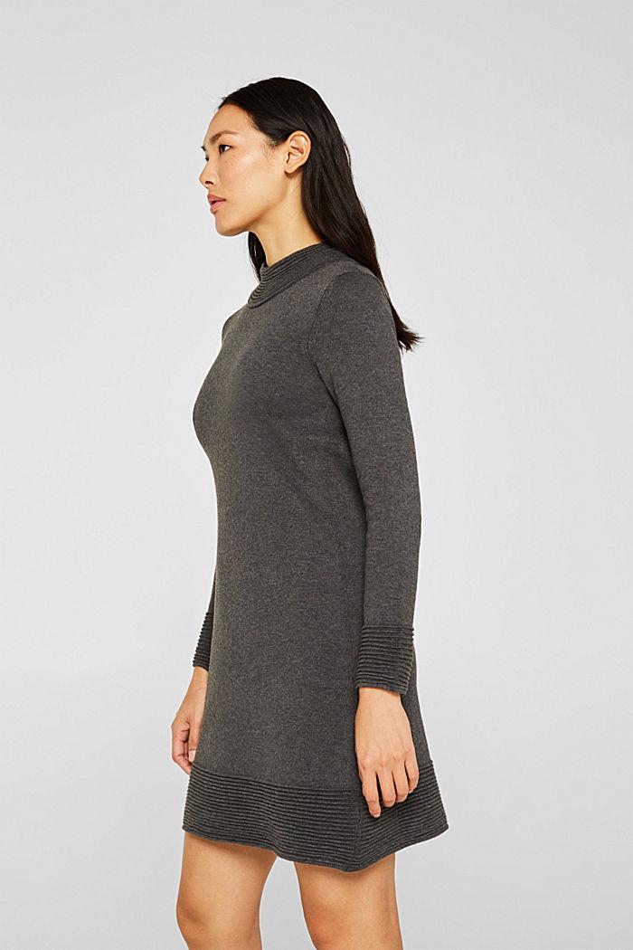 Strick-Kleid mit Biesen, ANTHRACITE, detail image number 0