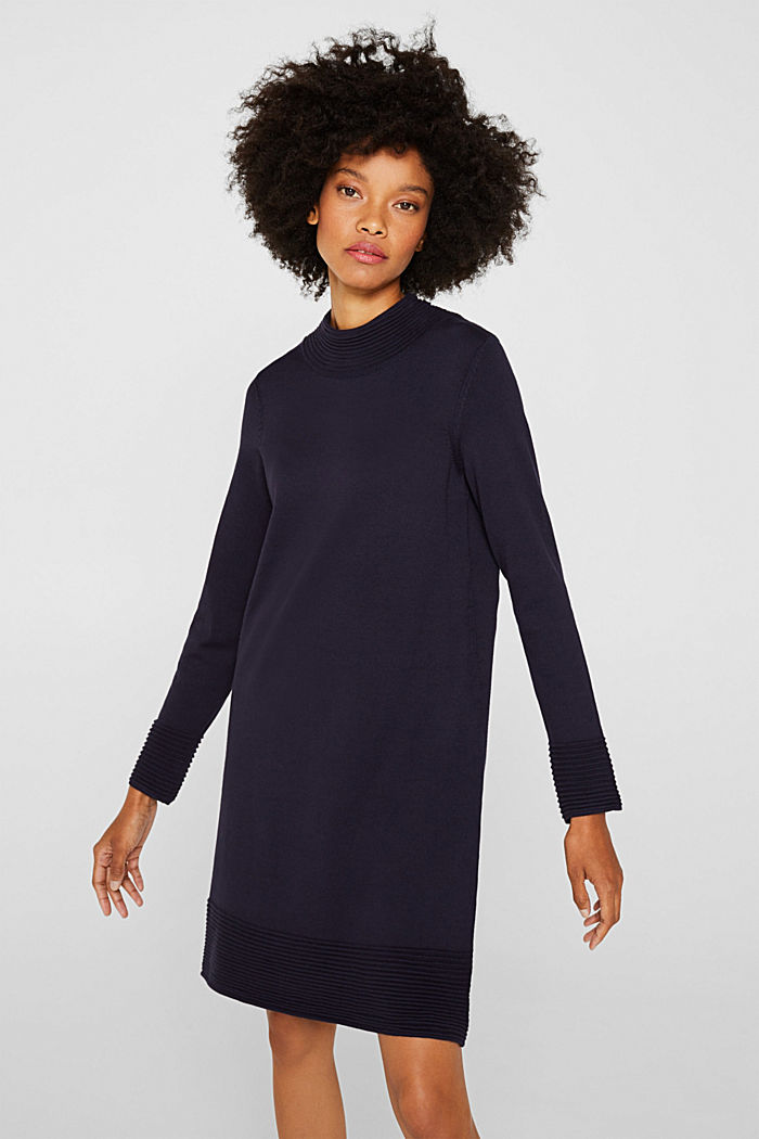 Knit dress with pintucks, NAVY, detail image number 0