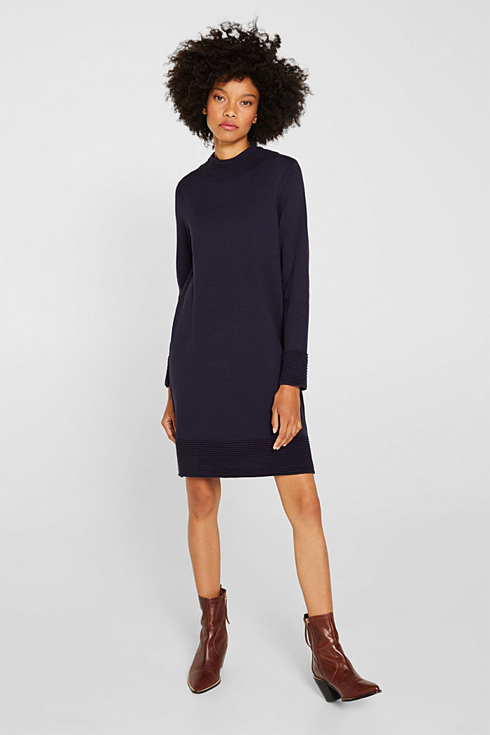 Knit dress with pintucks, NAVY, detail image number 1
