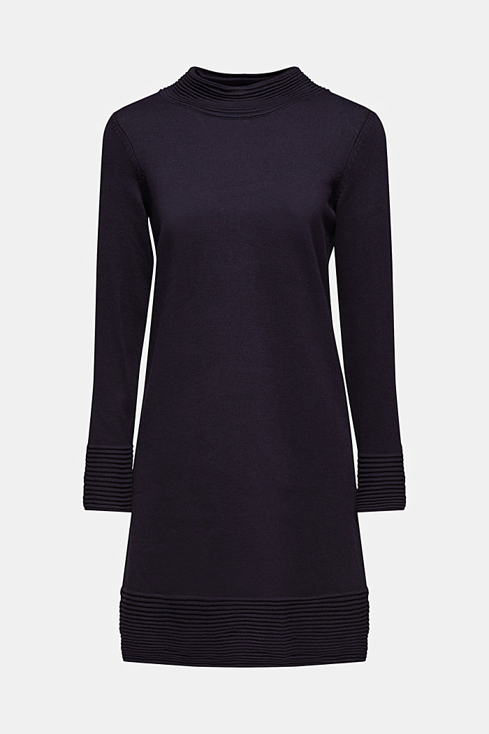 Knit dress with pintucks, NAVY, detail image number 7