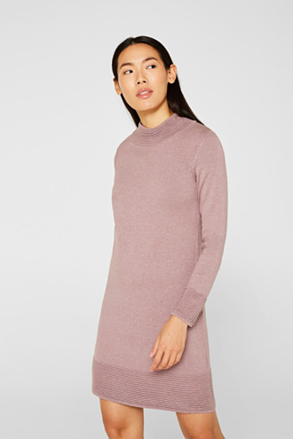 Knit dress with pintucks