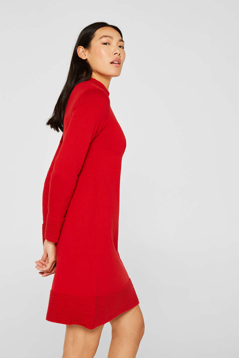 Knit dress with pintucks, DARK RED, detail image number 0