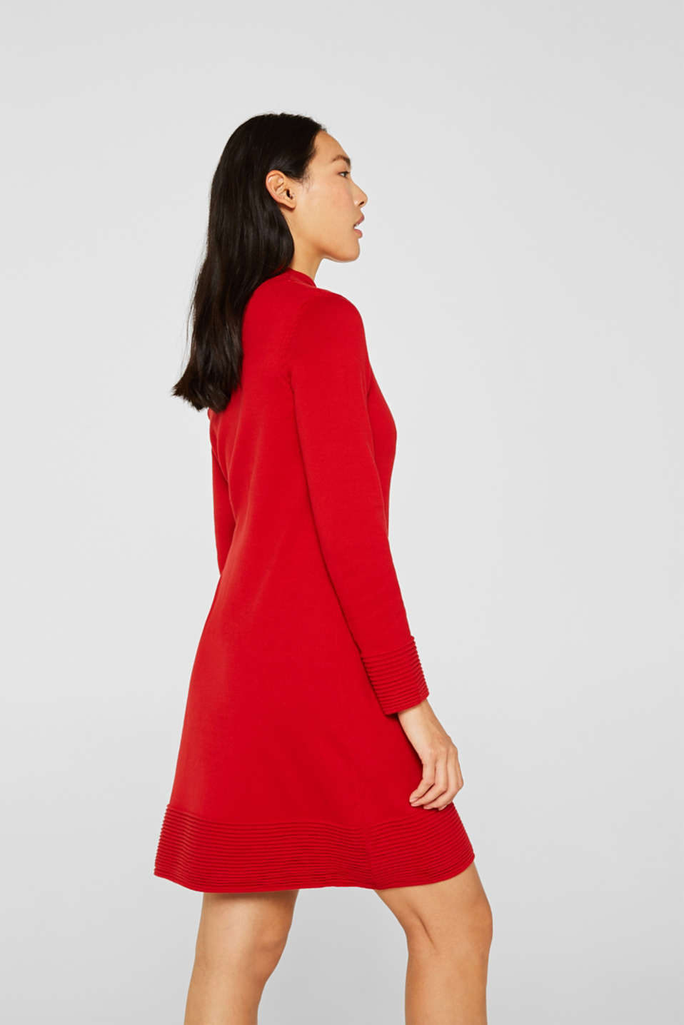 Knit dress with pintucks, DARK RED, detail image number 2
