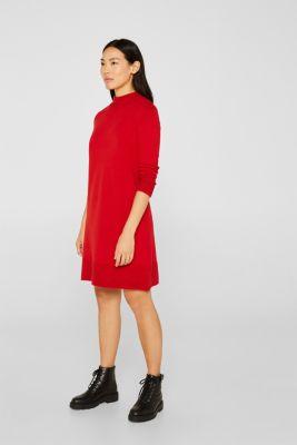 Knit dress with pintucks, DARK RED, detail