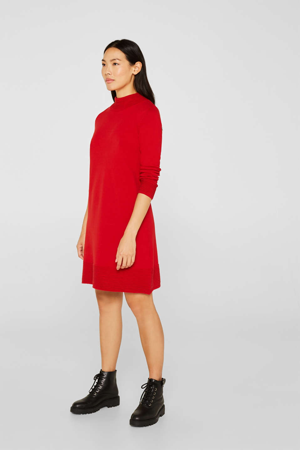 Knit dress with pintucks, DARK RED, detail image number 1