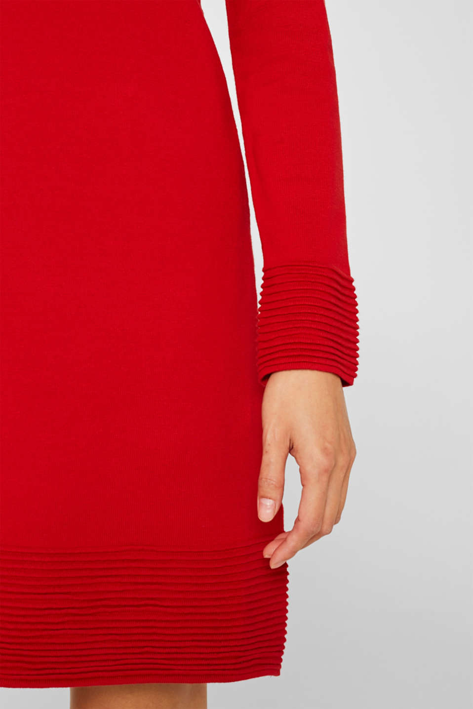 Knit dress with pintucks, DARK RED, detail image number 3