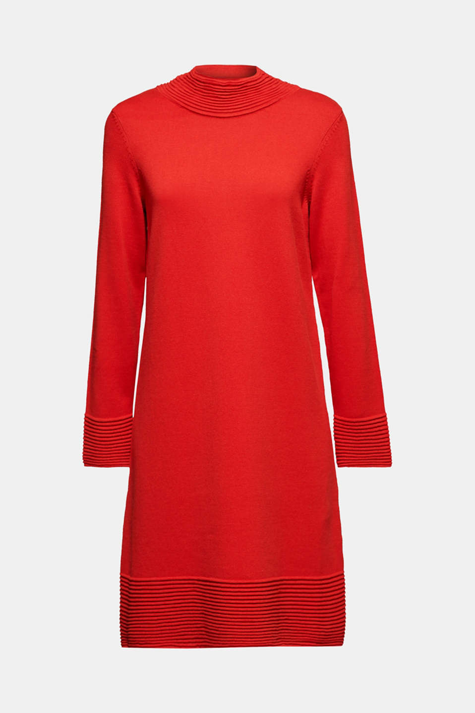 Knit dress with pintucks, DARK RED, detail image number 5