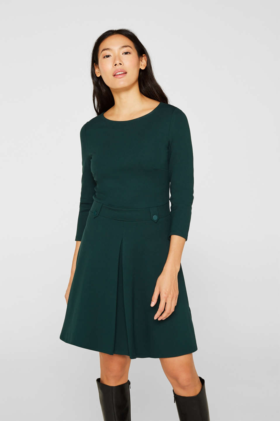 Flared dress made of stretch jersey, DARK TEAL GREEN, detail image number 0