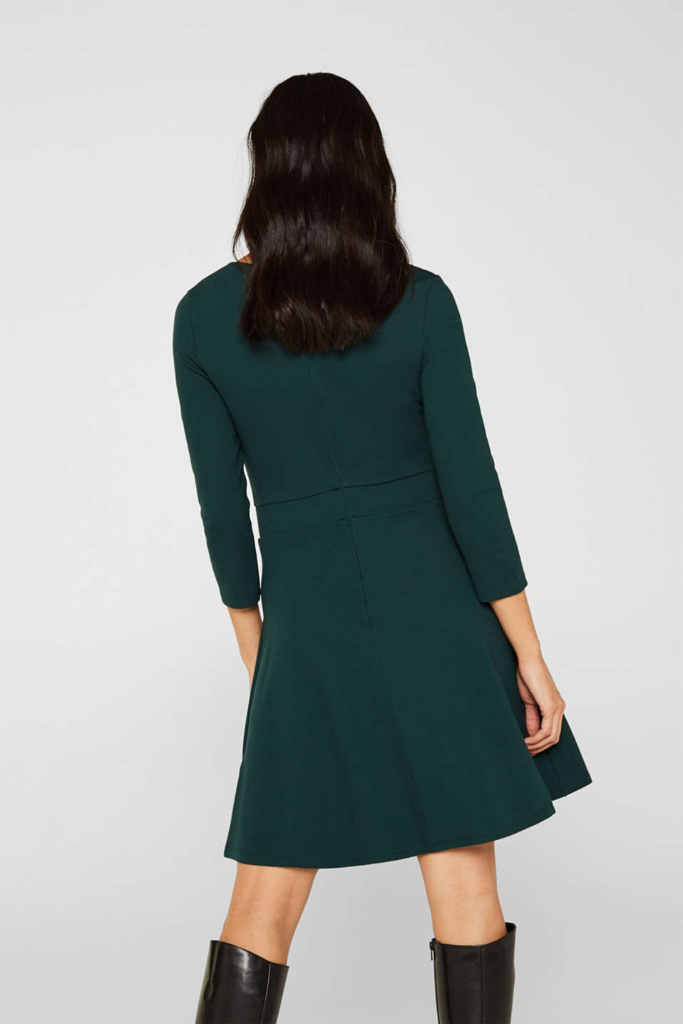 Flared dress made of stretch jersey, DARK TEAL GREEN, detail image number 2