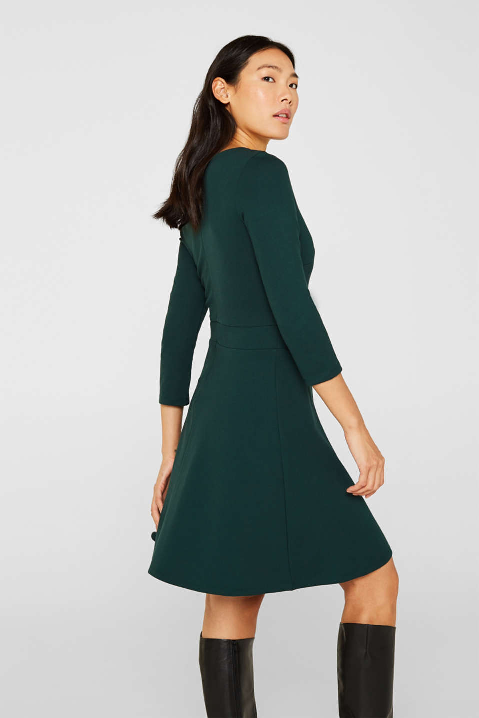 Flared dress made of stretch jersey, DARK TEAL GREEN, detail image number 5