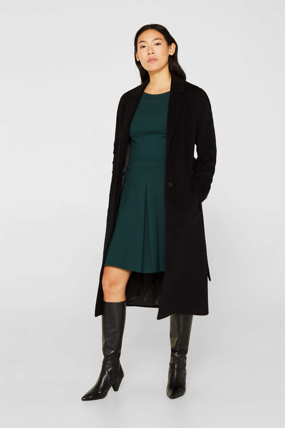 Flared dress made of stretch jersey, DARK TEAL GREEN, detail image number 1
