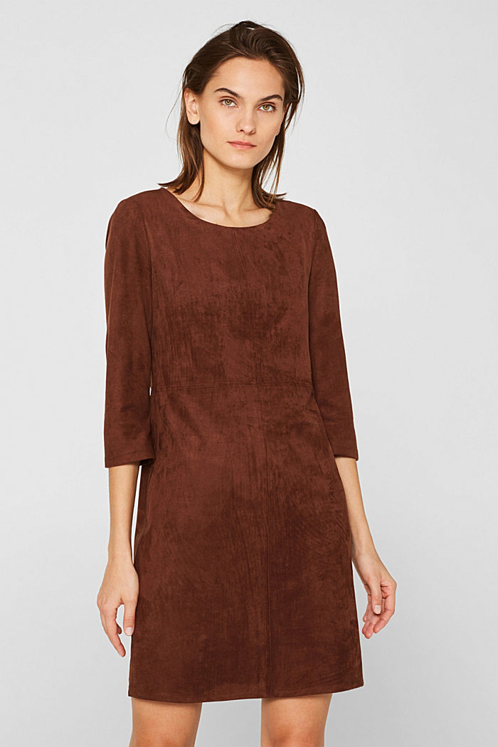 Stretch faux leather dress, DARK BROWN, detail image number 0