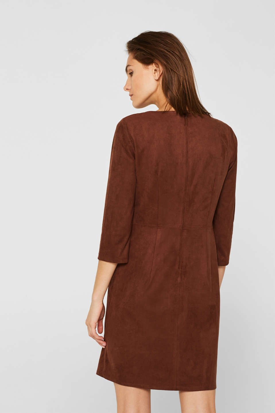 Stretch faux leather dress, DARK BROWN, detail image number 3