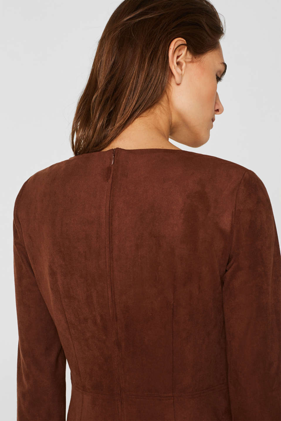 Stretch faux leather dress, DARK BROWN, detail image number 2