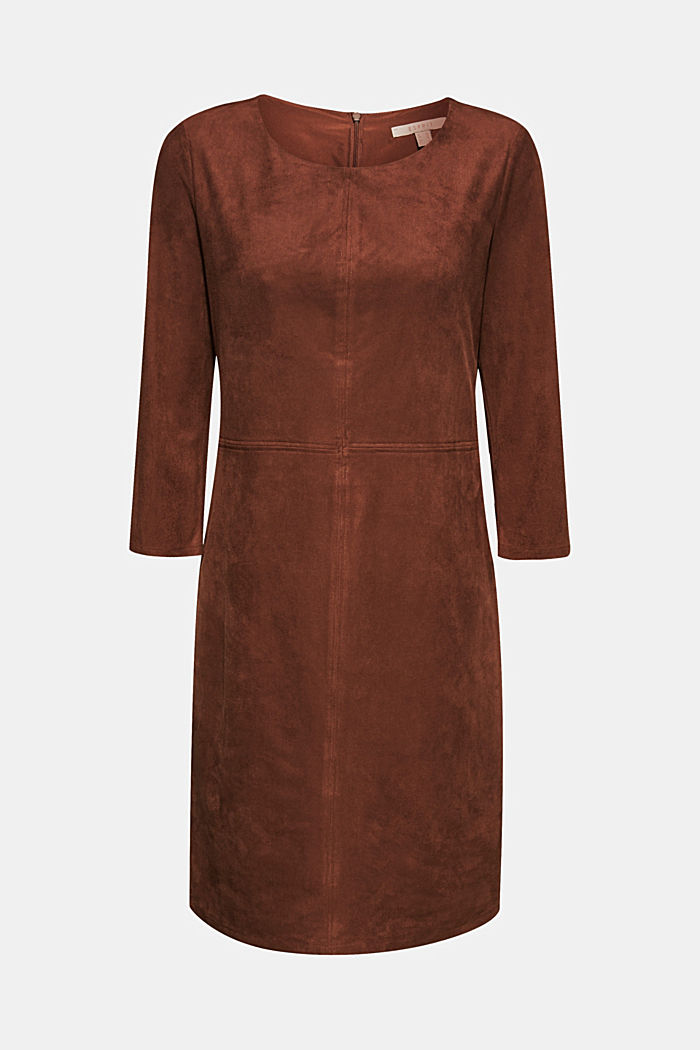 Stretch faux leather dress, DARK BROWN, detail image number 5