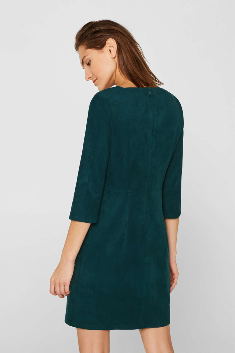 Stretch faux leather dress, DARK TEAL GREEN, detail image number 3