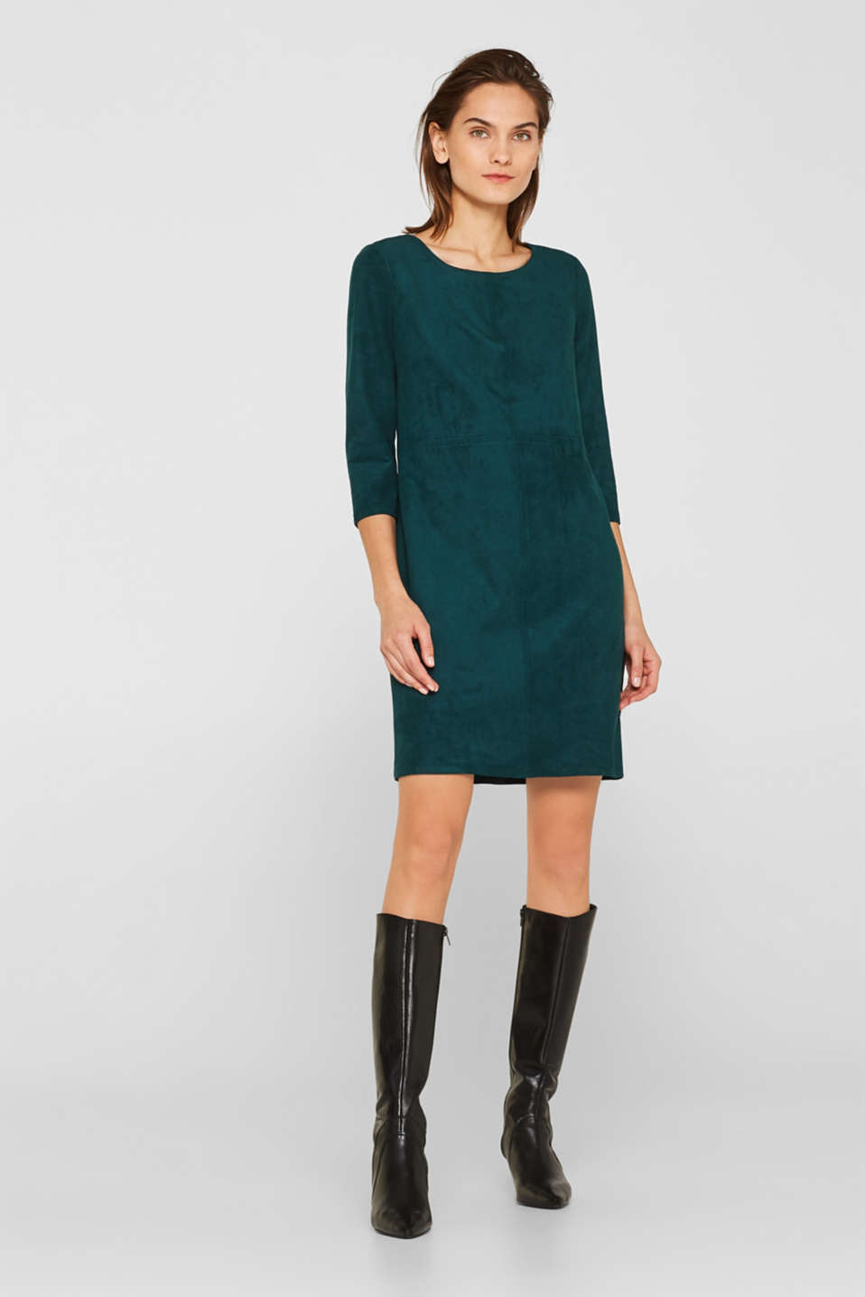 Stretch faux leather dress, DARK TEAL GREEN, detail image number 1