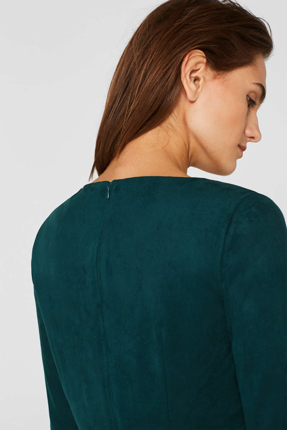 Stretch faux leather dress, DARK TEAL GREEN, detail image number 2
