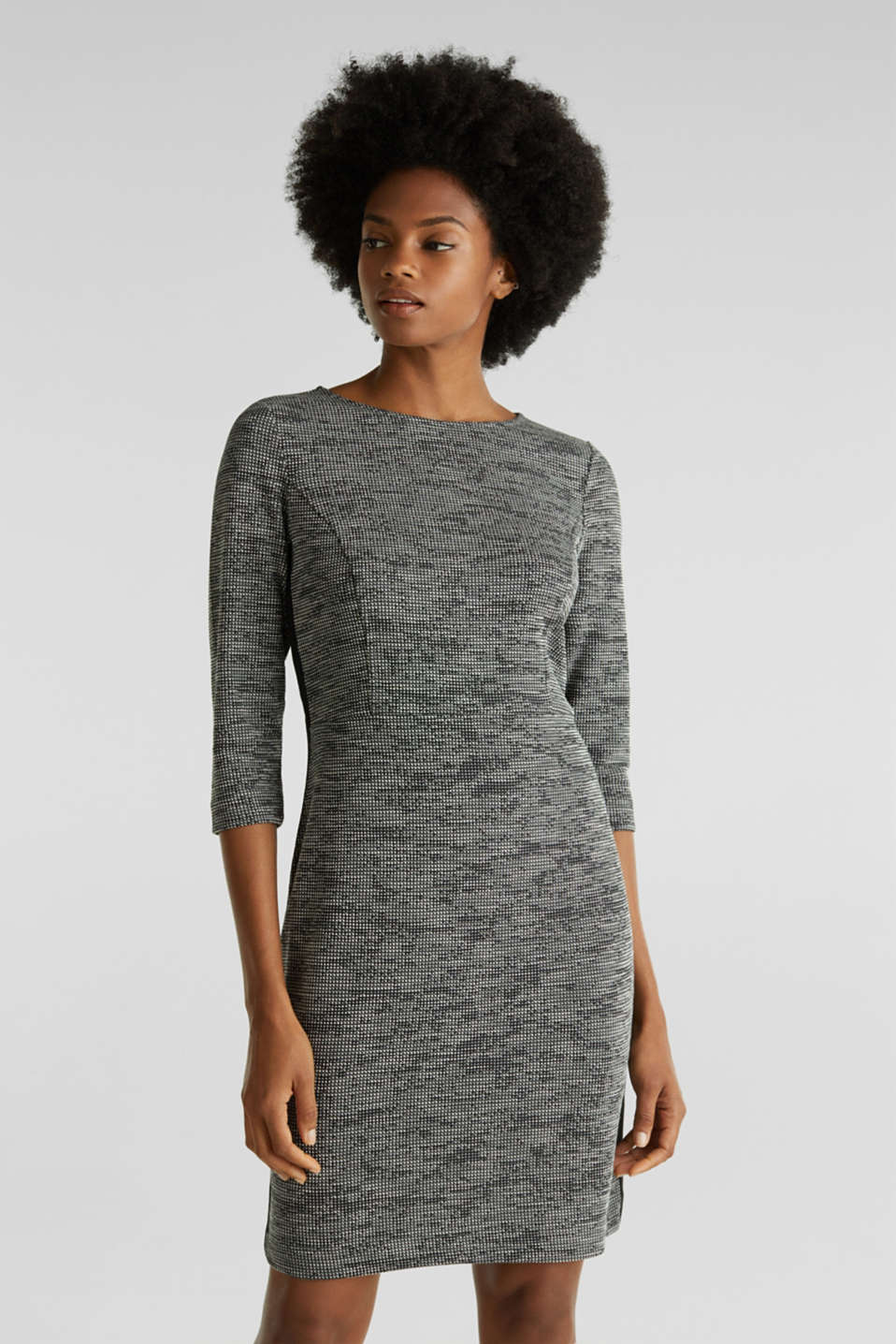 Esprit - Stretch jersey dress with a two-tone texture
