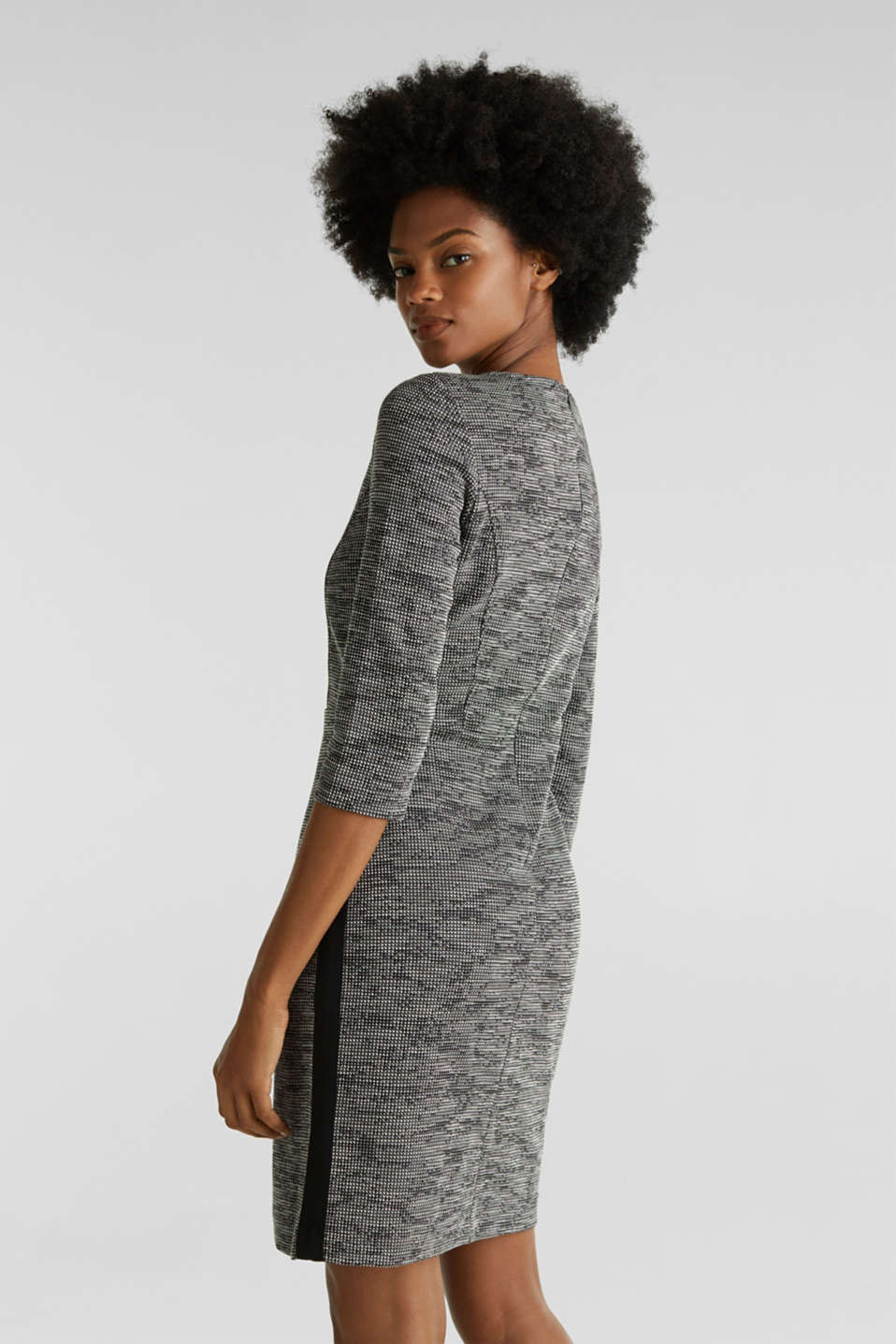 Stretch jersey dress with a two-tone texture, BLACK 4, detail image number 2