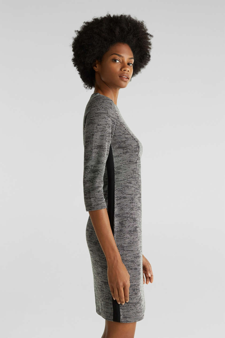 Stretch jersey dress with a two-tone texture, BLACK 4, detail image number 4