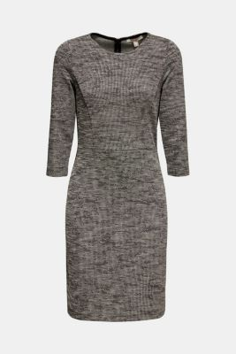 Stretch jersey dress with a two-tone texture, BLACK 4, detail