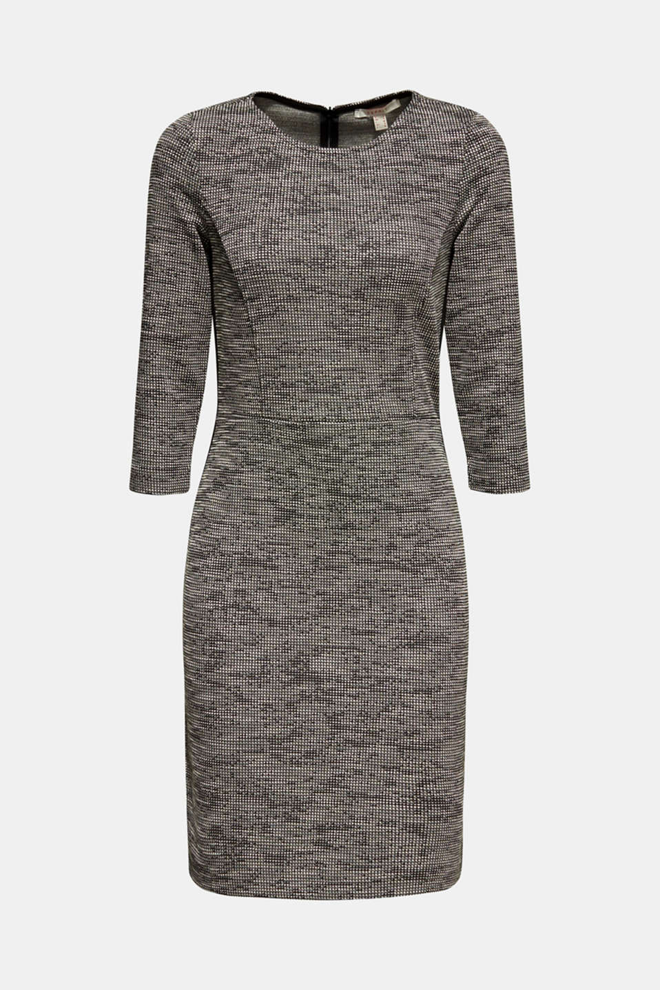 Stretch jersey dress with a two-tone texture, BLACK 4, detail image number 6