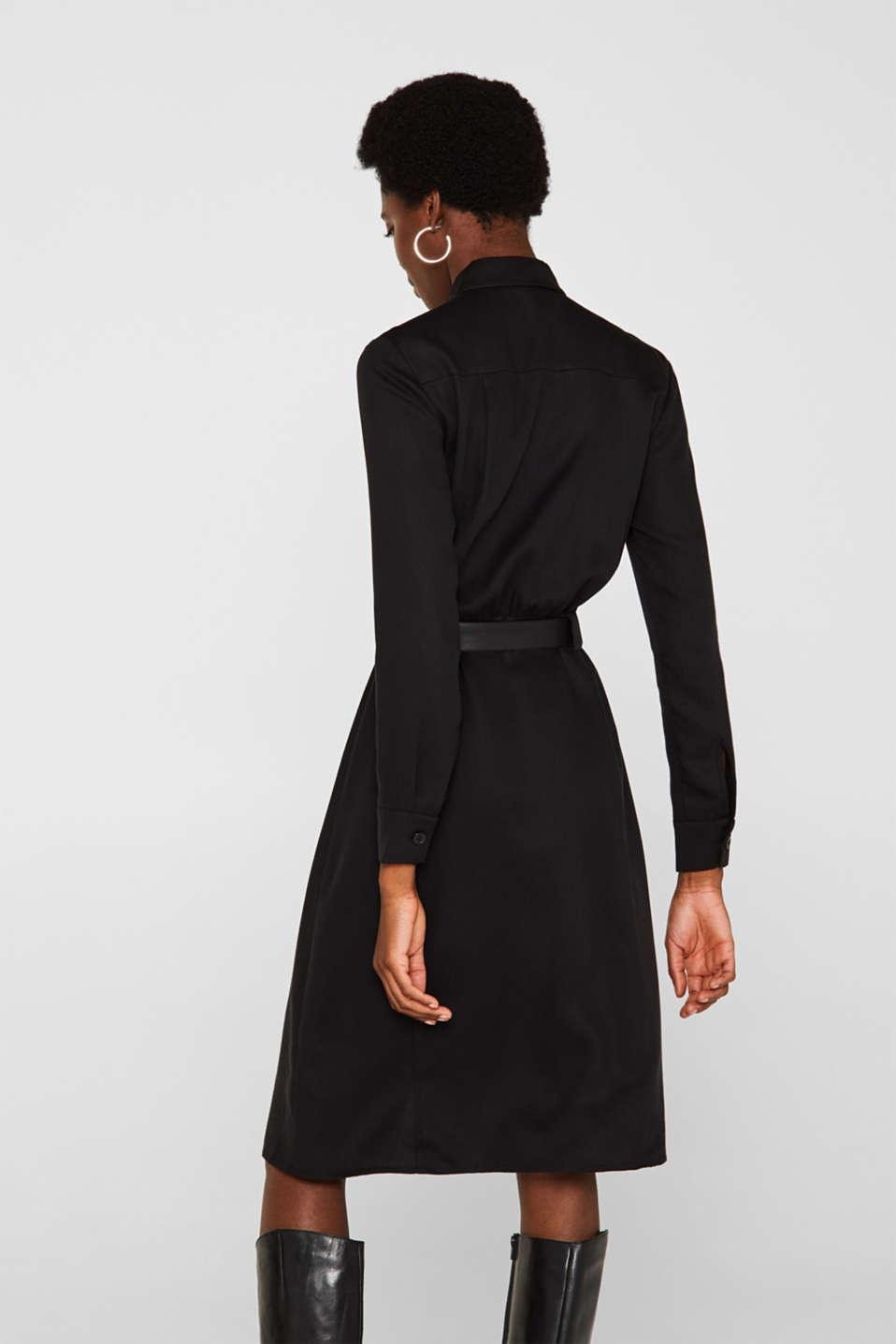 Made of TENCEL™: Shirt blouse dress with a belt, BLACK, detail image number 2