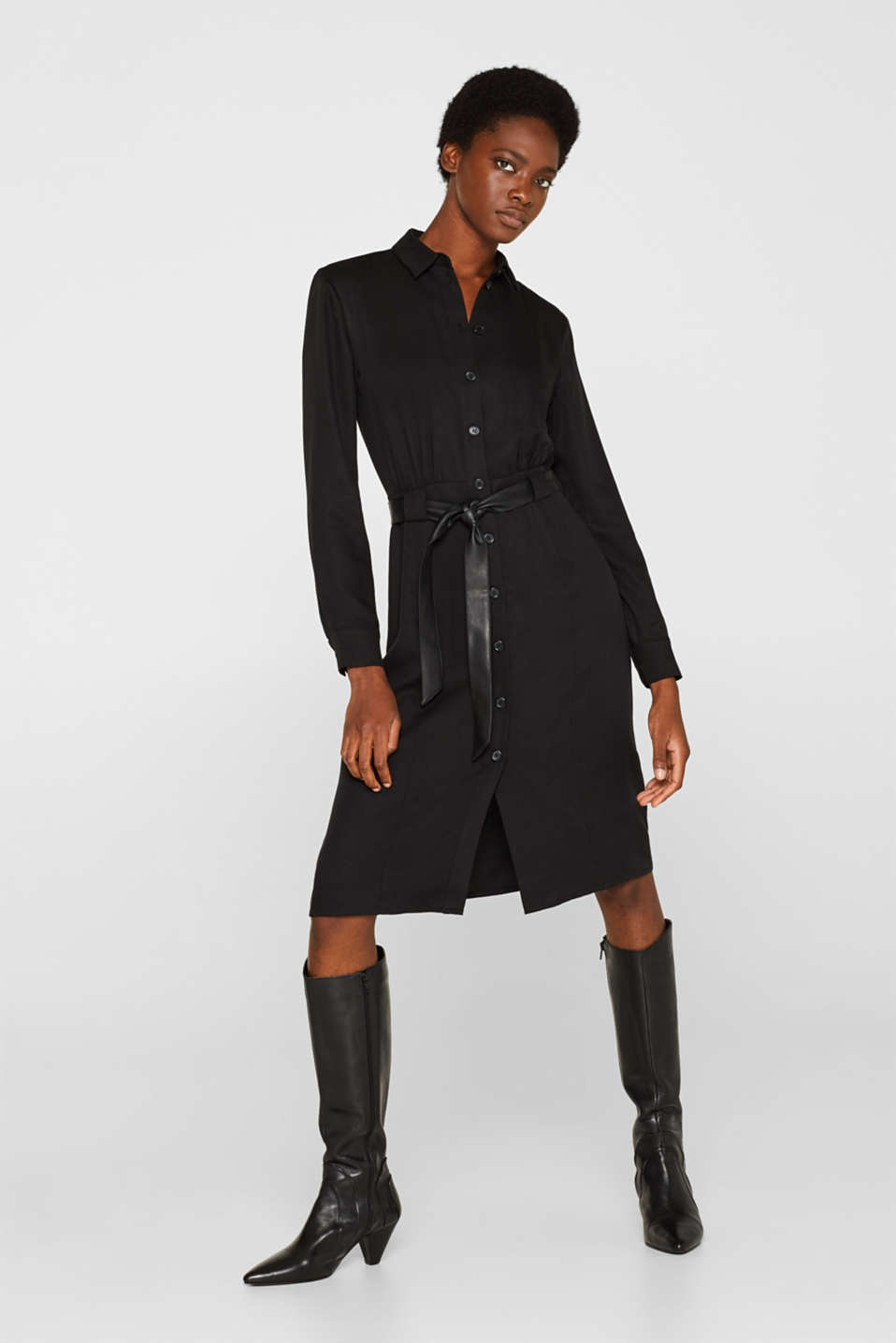 Made of TENCEL™: Shirt blouse dress with a belt, BLACK, detail image number 1