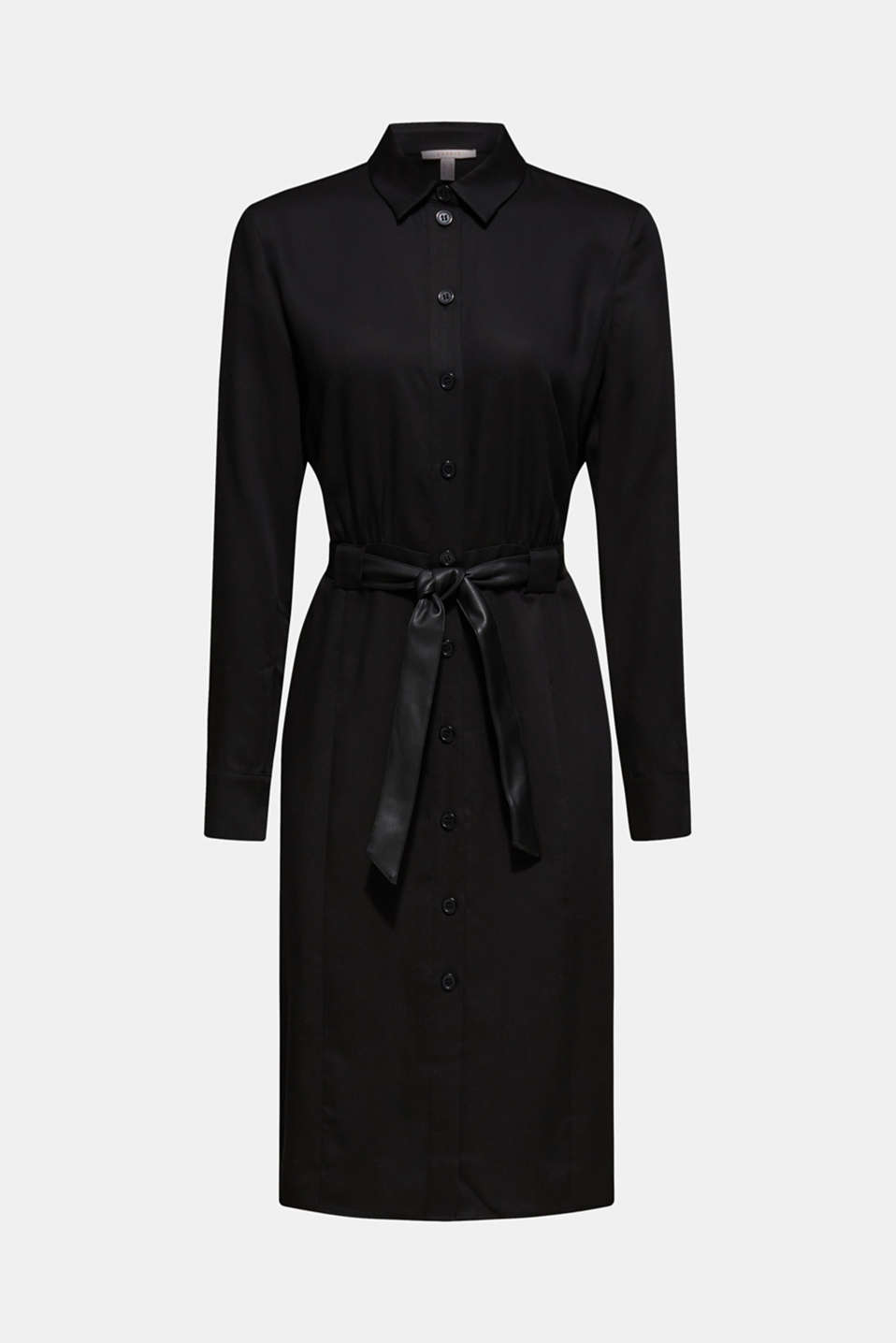 Made of TENCEL™: Shirt blouse dress with a belt, BLACK, detail image number 5