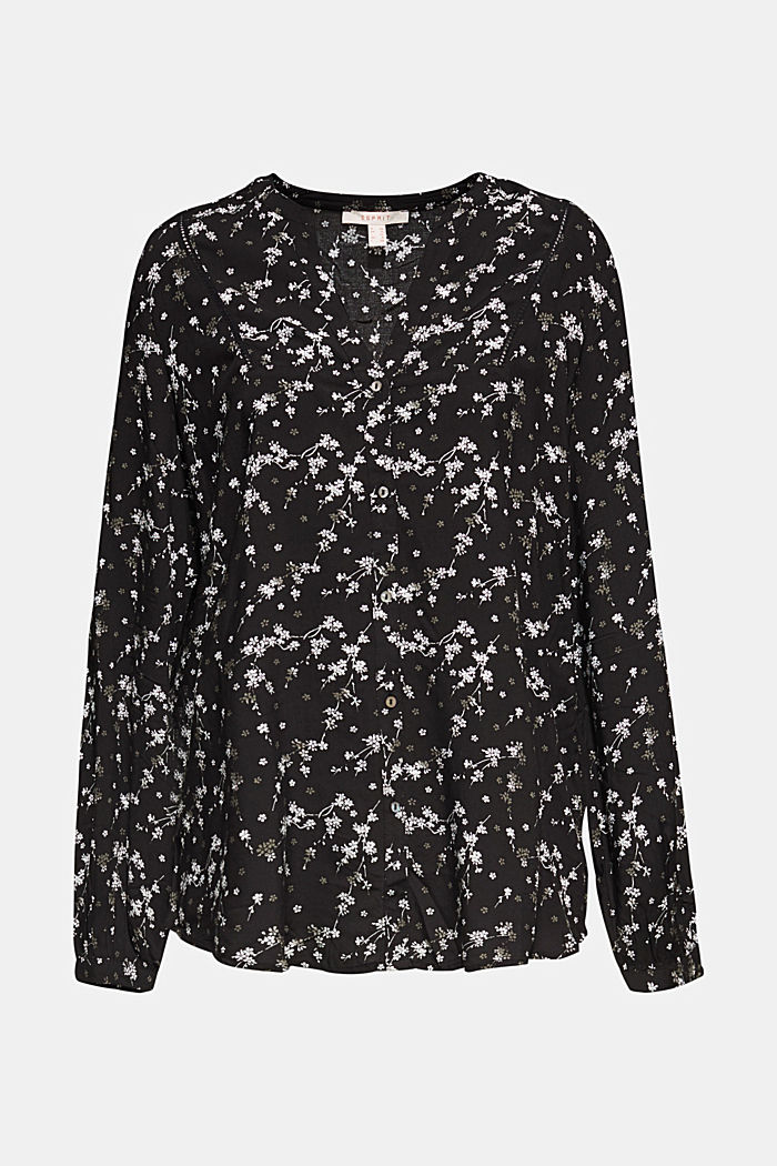 Print blouse with LENZING™ ECOVERO™, BLACK, detail image number 5