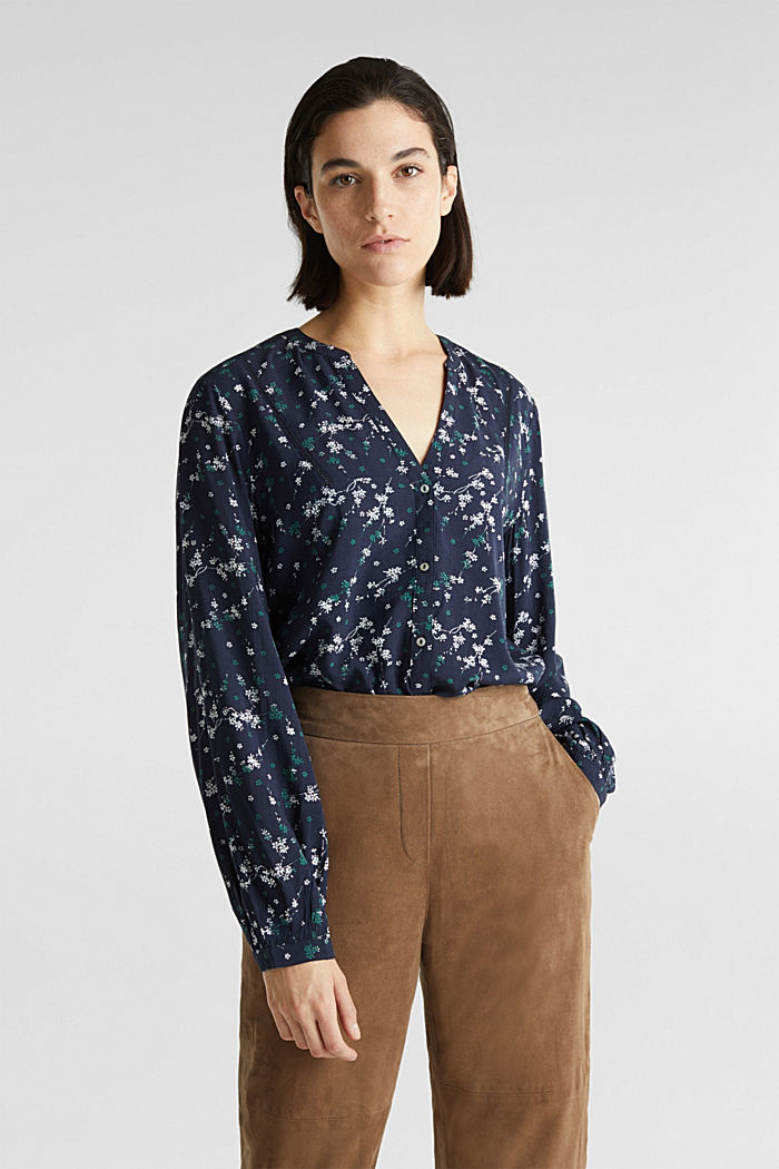 Print blouse with LENZING™ ECOVERO™, NAVY, detail image number 0