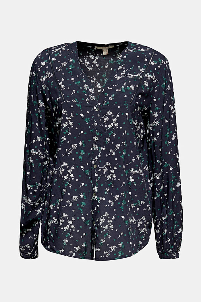 Print blouse with LENZING™ ECOVERO™, NAVY, detail image number 6