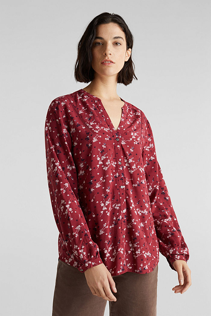 Print blouse with LENZING™ ECOVERO™, GARNET RED, detail image number 0